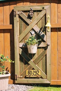Custom barn door fence decor with plant hanger, old hinges ...