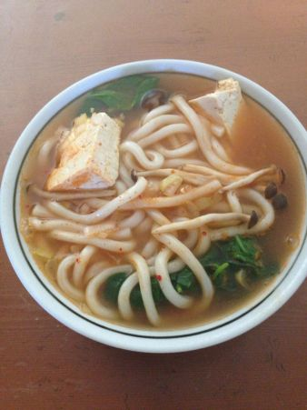 Udon Noodle Soup with Spinach, Mushrooms and Tofu: