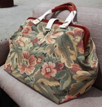 Floral carpet bag, or Mary Poppins bag, in dusty red, sage ...