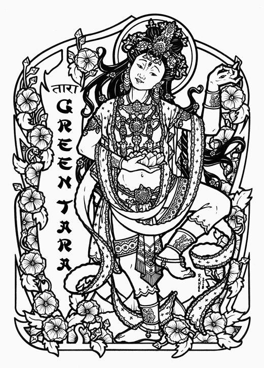 green tara  hindu/buddhist goddess of compassion © 10