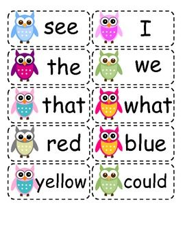 This is a list of full color, owl themed high frequency words for the Kindergart