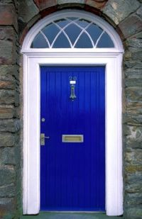 excited about my bright blue front door! wish I knew the ...