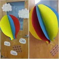 Hot air balloon classroom door. 3D hot air balloon :) and ...