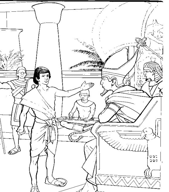 Joseph interpreting Pharaoh's dreams. Bible coloring page