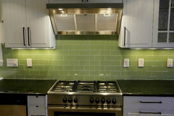 green glass tile kitchen backsplash green subway tile kitchen backsplash | Supreme Glass Tiles