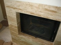 Travertine slab fireplace facade | Stone Fireplace ...