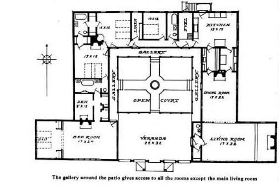 208150814000325060 Bungalow Courtyard Home Plan — Hacienda