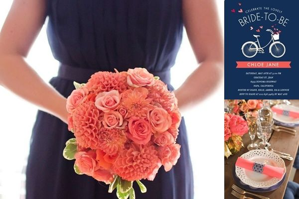 Coral And Navy Blue Wedding Reception Ideas