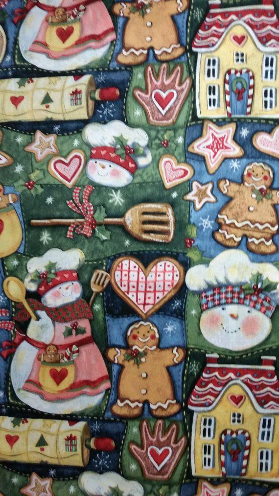 SNOWMAN KITCHEN Susan Winget Fabric 100 Cotton 1 By