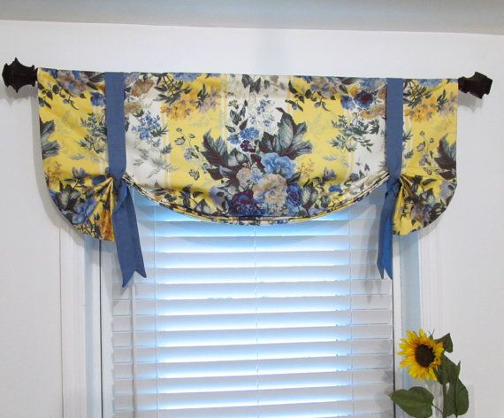 country curtains for living room pictures of rooms decorated floral tie up lined valance yellow blue custom sizing ...