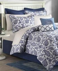 Navy Blue & White Palampore 8p Floral COMFORTER SET Queen ...