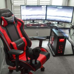 Ergonomic Chair Desk And Computer Setup Wooden Blueprints Amazing Battle Station Gaming Black Glass L Shaped Dual Monitors With ...