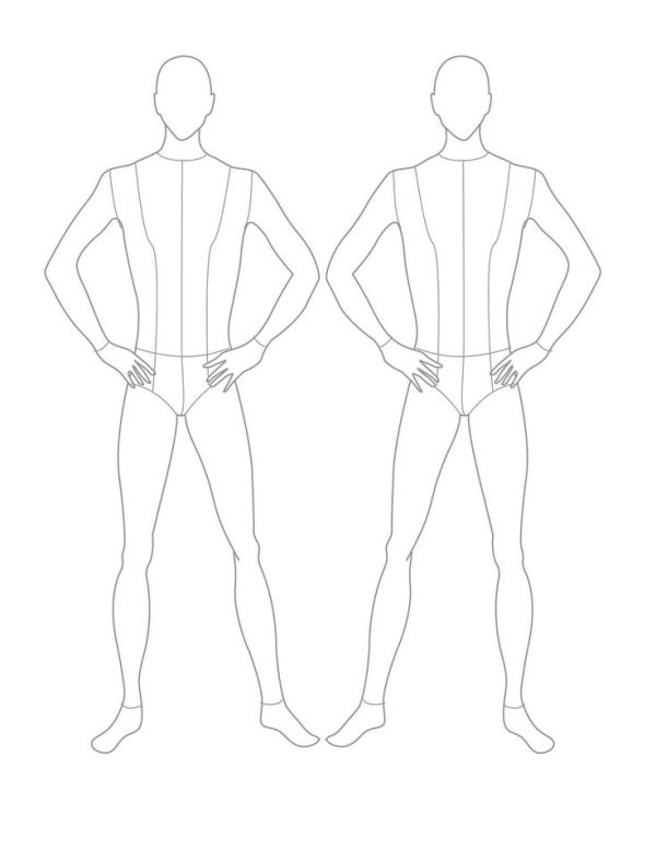 Croqui Fashion Model Templates Male Flat Template