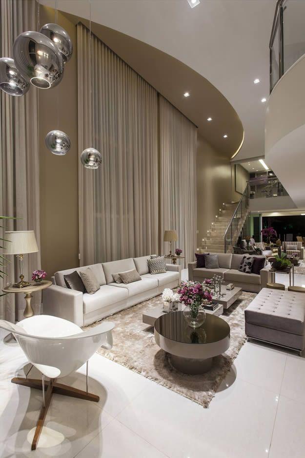 Salas de estar tv e jantar integradas  maravilhosas Confira todos os detalhes  SALASLIVING