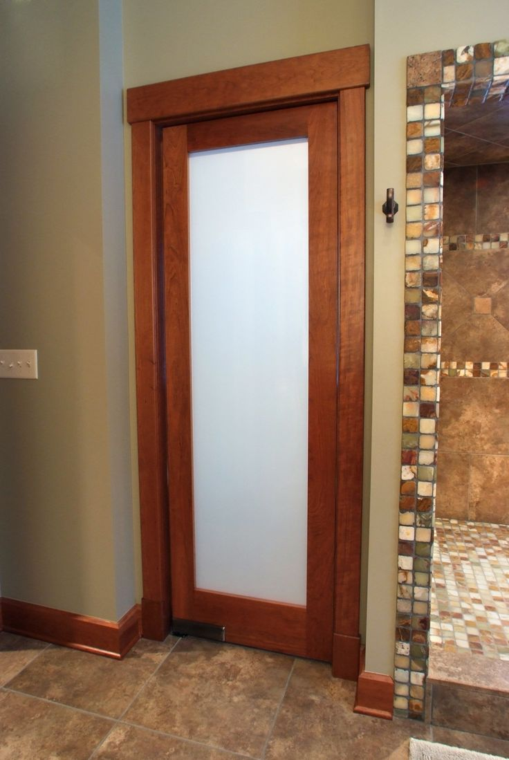 American Cherry 1 Lite frosted glass double acting bathroom door with Contemporary cherry casing