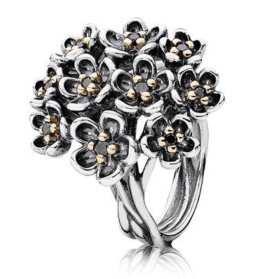 Pandora Silver 14ct Gold Black Spinel Multi Flower Ring