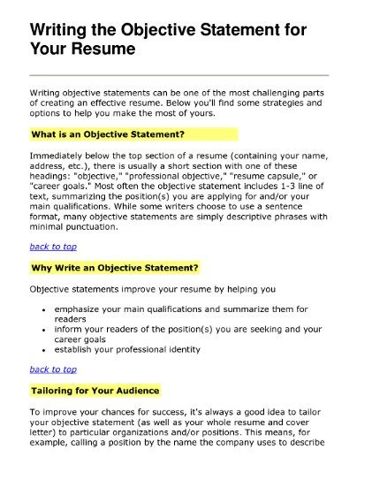 Effective Career Objective For Resume - How to write an objective on a resume