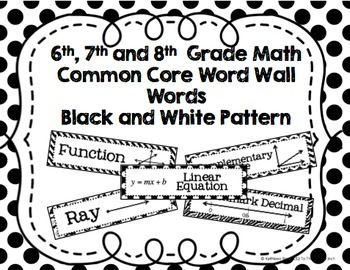 6th, 7th and 8th Grade Math Common Core Word Wall Words