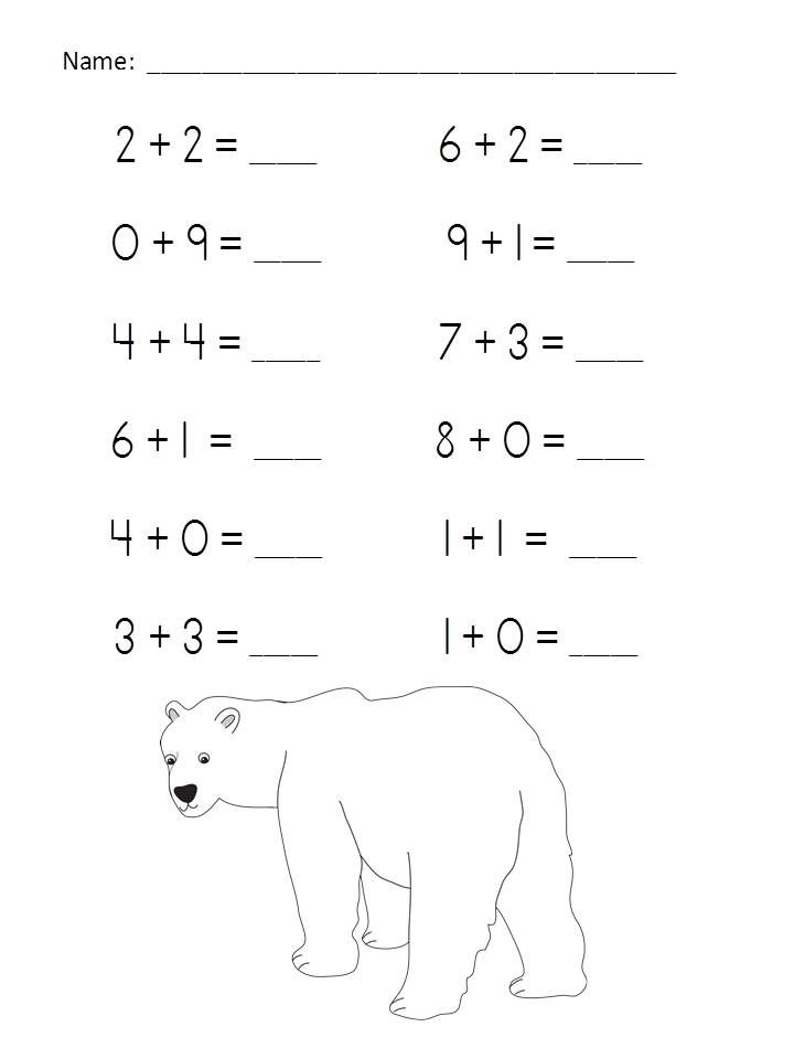 Polar Add-Venture Addition Practice Packet (Sums of 0-10