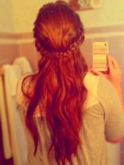 braided crown long hair wavy