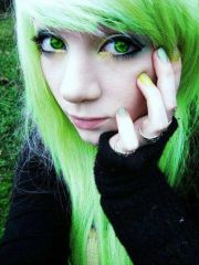emo girl green hair eyes