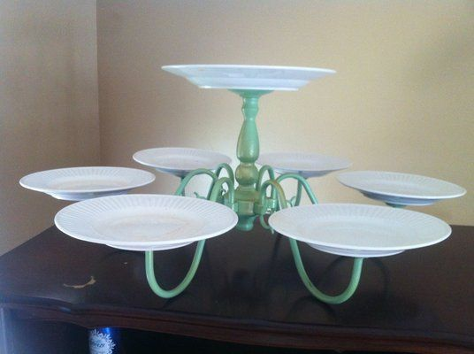 Vintage chandelier repurposed into cake dessert stand for wedding reception shower, teaparty, cupcakes