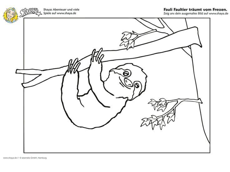 #Ausmalbild  Fauli das Faultier träumt vom Fressen! #