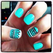 bright teal summer nail design