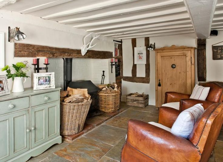 Cottage Living Room with Open Fireplace and Painted Beams KITCHEN  House  Pinterest  Cottage
