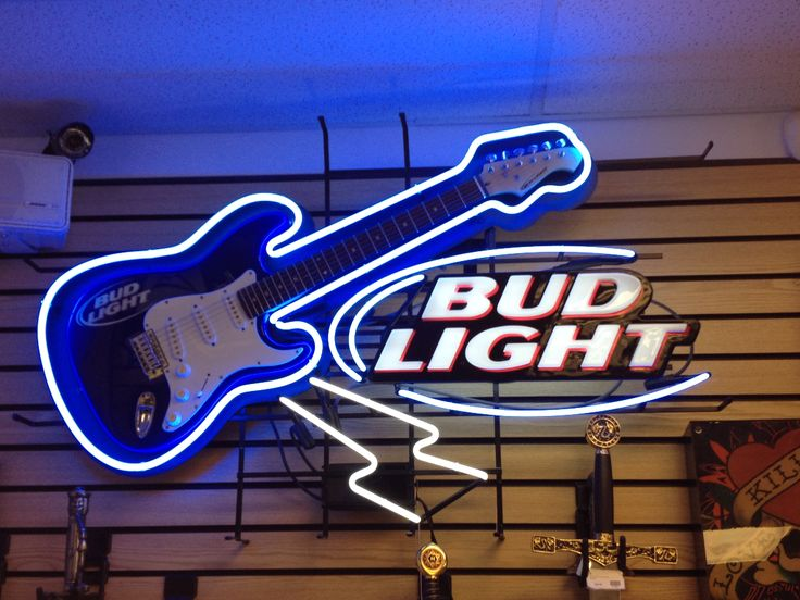 Bud Light Neon Sign wGuitar For Sale 732 228 7089  Cash