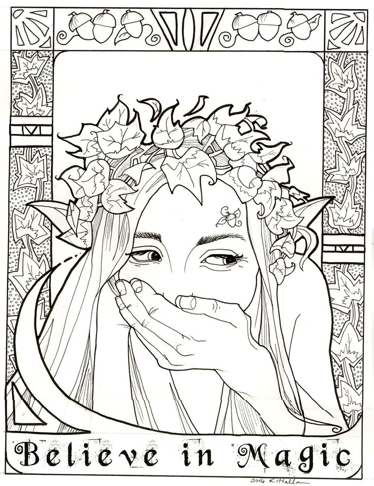 Believe in Magic coloring page ~ Leafy Elf by khallion