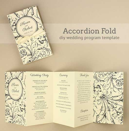 DIY Accordion Wedding Program Free template project