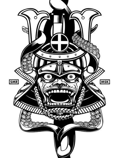 Samurai Mask Drawings Httpsociety6comoneappleinboxsamurai