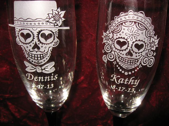 Personalized Engraved Sugar Skull Bride and Groom