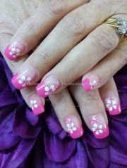 gel 50 tips with freehand flower