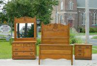 3 Piece Solid Tiger Oak Bedroom set~~~Bed~Dresser ...