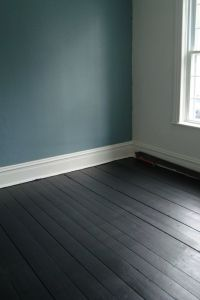 dark painted floorboards, teal walls
