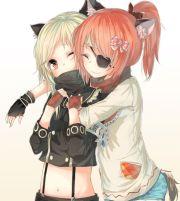 anime girls with blonde hair orange