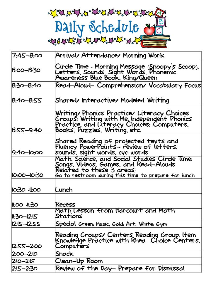 25+ Best Ideas about Kindergarten Daily Schedules on