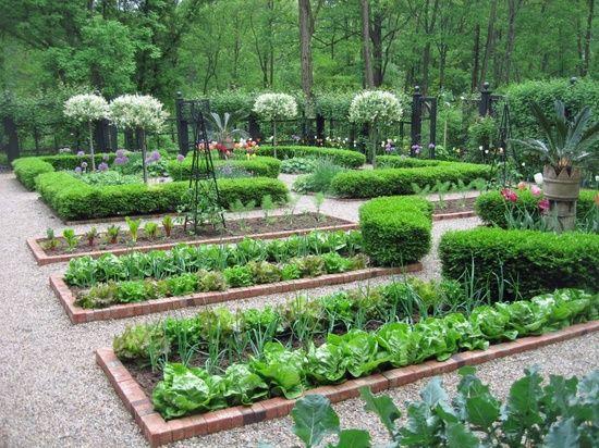 pea gravel & brick vegetable