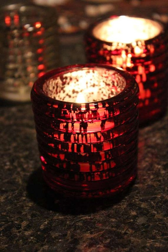 10 RED MERCURY GLASS Style Votive Candle Holder Painted