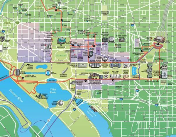 DC Tourist Map Printable historic map sight seeing tour