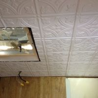 Plastic tin ceiling for the camper