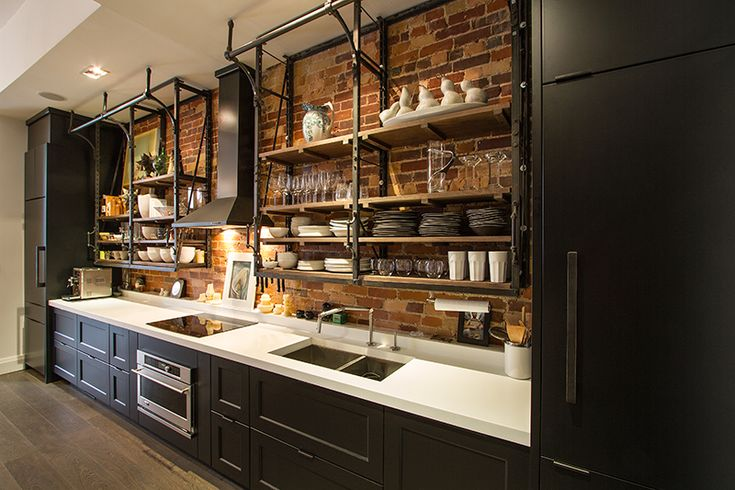 Full Look At This Industrial Style Galley Kitchen