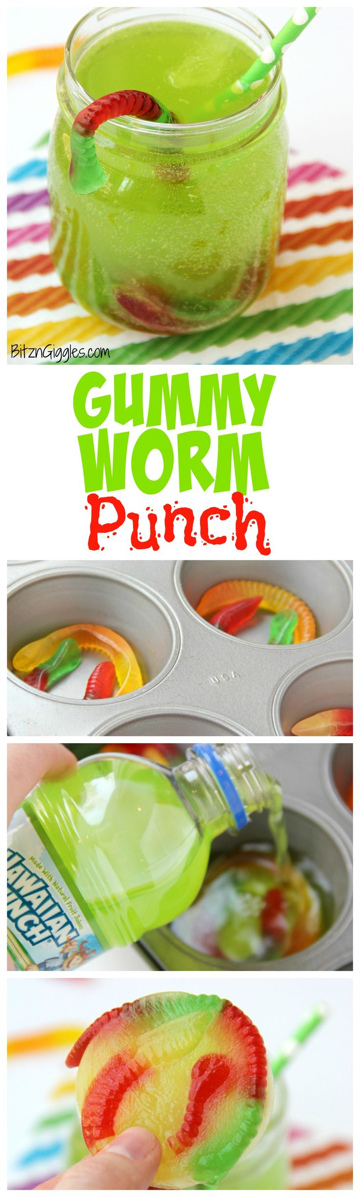 Gummy Worm Punch – Kids will love sipping on this drink in the summer! Great idea for birthday parties, St. Patrick's Day,