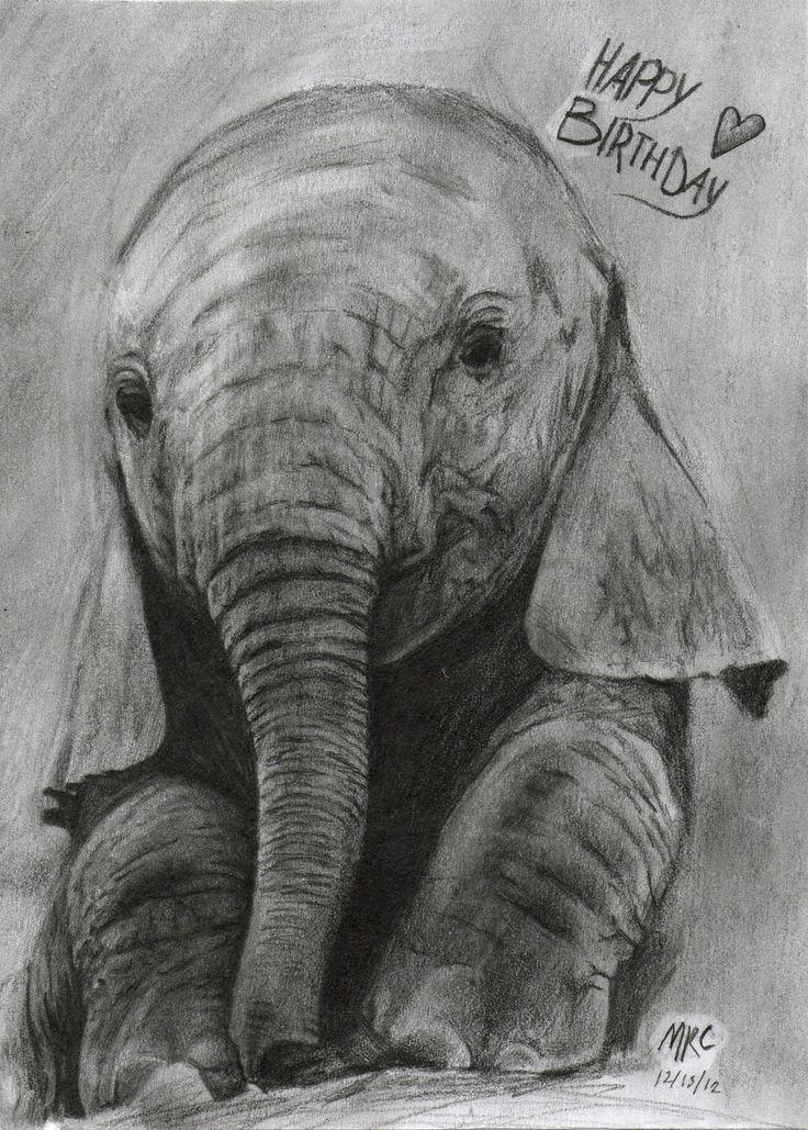 Beautiful Elephant Drawing With Happy Birthday Love Happy Birthday Pinterest Happy Birthday