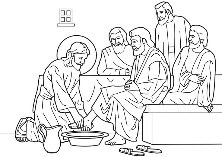 Jesus Washing His Disciples Feet Coloring Pages Sketch