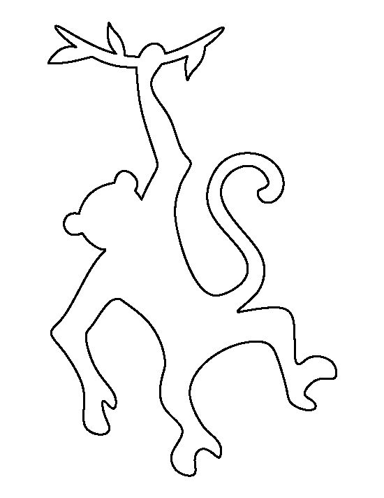 Hanging monkey pattern. Use the printable outline for