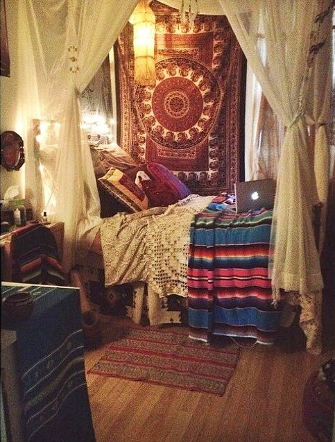 Bohemian room. Instead of a bed, maybe a couch or daybed
