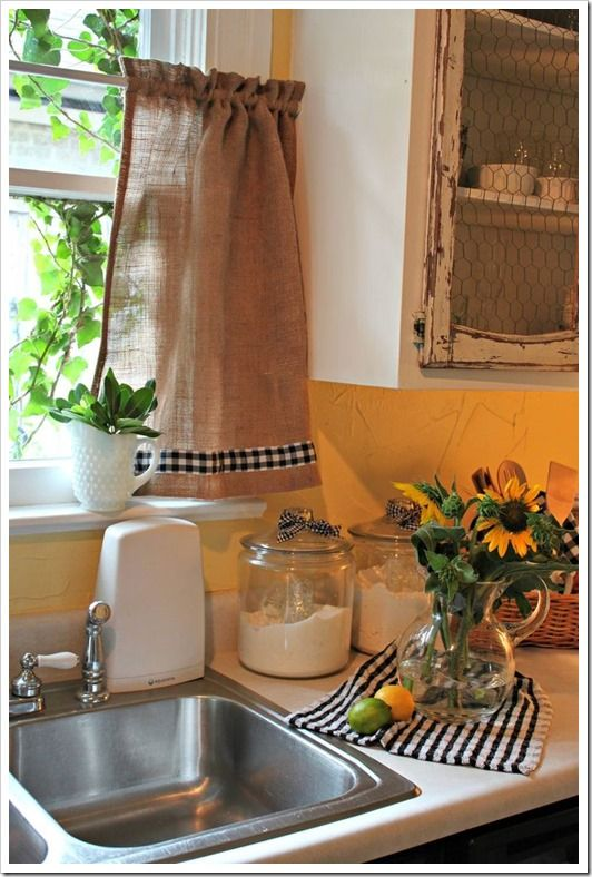 25 best ideas about Burlap Kitchen Curtains on Pinterest  Farmhouse style kitchen curtains